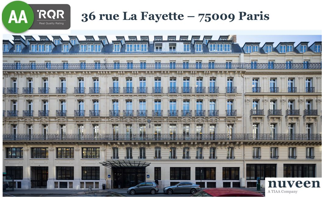 RQR has rated AA the quality of the office asset located 36 rue Lafayette in the 9th district of Paris.