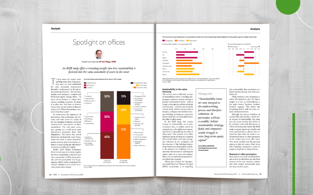 Olivier Mège discusses how sustainability is factored into the value assessment of office assets by real estate market participants in the Dec 2020 / Jan 2021 PERE edition